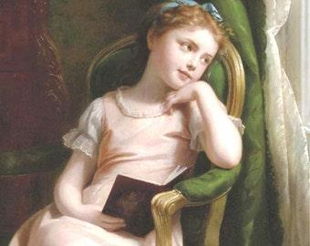 "Fritz Zuber Buhler, 1822-1896, Swiss, Daydreaming, Girl, pensive girl looking out window, antique art, girls room, 11x14"" canvas art print"