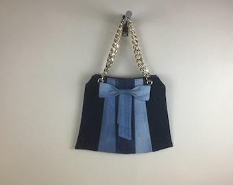 Recycled denim bow handbag