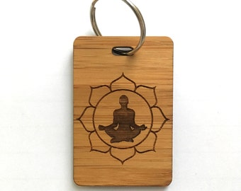 Yoga Keyring, Yoga Gifts, Yoga Teacher Gift, Wooden Keyring, Wooden Gift, Yoga Accessory, Lotus position keyring, Namaste Keyring