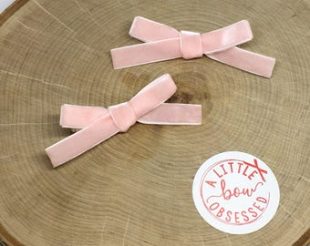Pale Pink Velvet Hair Bow, Clip or Headband, Pigtail Hair Bows, Girls Hair Bows, Mini Baby Pink Bows, Valentine's Day Bows, Easter Hair Bow