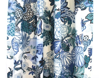 Schumacher Chiang Mai Dragon in Custom Pleated Drapes (shown in China Blue-comes in 8 colors)