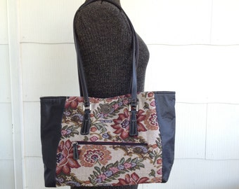 Tapestry Tote Bag, Tapestry Purse, Floral Tapestry, Business Tote Bag