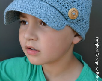Boys Newsboy Crochet Hat Pattern in Toddler, Kid and Adult Size No.210 Digital Download English