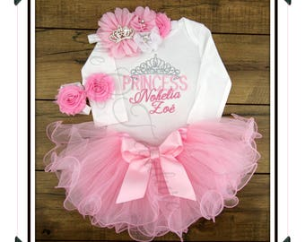 The Princess has arrived, coming home outfit, take home outfit, NAME, personalized, embroidered, newborn, baby, girl, outfit, tutu, pink