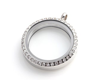 50% off - Silver 30mm Magnetic Closure Stainless Steel Floating Locket with Crystals