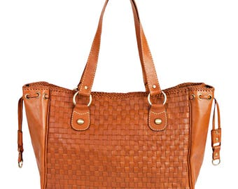 Large leather bag - leather tote bag with zipper - leather laptop bag women - laptop tote leather- laptop bag 15.6 - leather bag brown - ec
