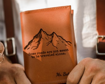 Men's Wedding Gift, Groom Gift from Bride, Monogramed Passport Cover, Engagement Gift, Passport holder, Mountain, Travel Wallet, Fiancé Gift