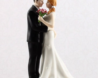 Wedding Cake Top, Wedding Cake Topper, Bride Groom Figurines, My Main Squeeze, Fun Loving Bride and Groom Cake Topper