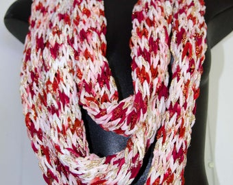 Knit Tube Infinity Scarf  ~ Red Pink and White ~ Loose Knit Infinity Loop Scarf - Knit Cowl  *~* OOAK Gift for Her Perfect for Valentines