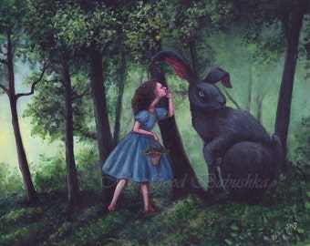 Whispering to the Black Rabbit Print, Gathering Blackberries, Dark Forest, Fairy Tale, Folk Tale, Blue Dress, Irish Folklore, Legend