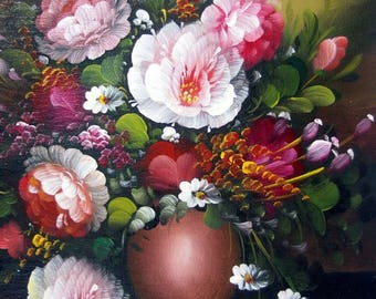 A. Lynn Original Oil on Canvas Painting Botanical Still-Life Unstretched