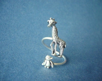 silver penguin giraffe ring wrap style, adjustable ring, animal ring, silver ring, statement ring