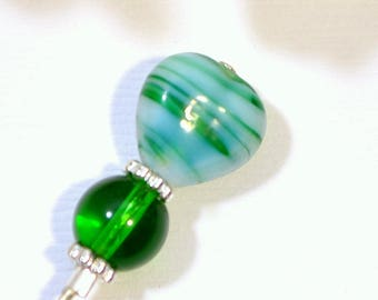 Green Hat Pin 3 inch Heart Hijab Pin Lapel Pin Green Sarong Pin Green Scarf Pin Beaded Stick Pin Handmade