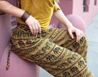 Elephant Harem Pants Yoga Aladdin Gypsy Hippie Mustard Yellow Baggy Cotton Colourful Ethnic Festival Indian Tribal