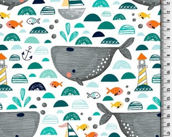 Little Darling Whale Print Jersey Knit Fabric,Jersey Fabric,Cotton Jersey Fabric,Jersey Knit - Half Metre