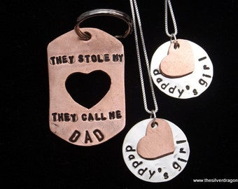 Father 2 Daughter gift, Father's Day Gift, Dad and Daughters set, They Stole My Heart, They Call Me Dad, Girl Dad gift, dad from daughters