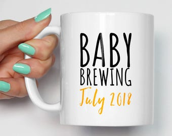 Baby Brewing Mug | Personalised Gift Expecting Mother Mom Mum | Any Date Custom | Pregnancy Mum To Be Family | Baby Announcement Present