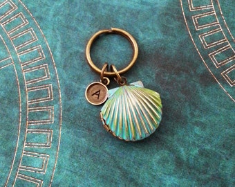 Clam Keychain SMALL Blue Clam Keyring Patina Clam Patina Keychain Personalized Keychain Bronze Clam Locket Keychain Bridesmaid Keychain