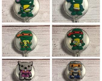 TMNT Ninja Turtles Badge Reel! You pick! Splinter Shredder Donatello Michelangelo Leonardo or Raphael! Nurse Gift Guy Gift Teacher Gift