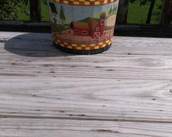 Bucket Wooden Bucket Painted Bucket Farm Decor Farm Bucket Basket