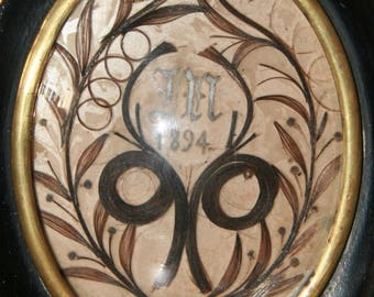 French Mourning Hair Shadow Box