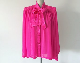 Vintage Pink Sheer Blouse with Bow Tie Neck