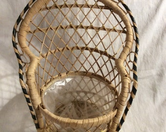 Vintage Wicker Rattan Round High Back Peacock Chair Planter or Doll Chair. Clean, Never Used. Doll Display.  Small Animal Photo Op