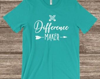 Teacher T-shirt - Difference Maker - Cute Teacher Shirt - Gift Idea for Teacher - Inspirational Shirt - Kindergarten Teacher Shirt