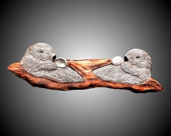 Twin Sea Otters Version 2 Wall Sculpture