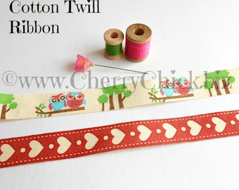 Cotton twill tape 5 yds - Heart Labels - Owl Labels - Sewing Label - Cotton ribbon - Sewing ribbon - Cotton twill ribbon - Quilting Labels
