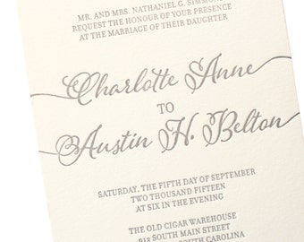 Modern Calligraphy Letterpress Wedding Invitation, Hand Lettering Style, Gray and Cream or Custom Colors