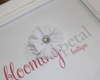 White Chiffon Rhinestone Flower Clip