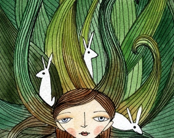 Rabbits In My Tangled Hair - Watercolor illustration, PRINT 5x7, white rabbits, Alice in Wonderland