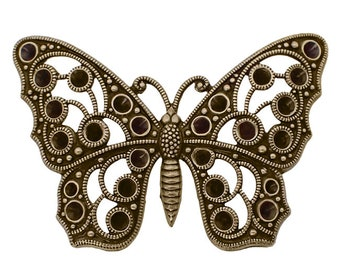 Large Butterfly Shaped Filigree Multi-Stone Chaton Setting Antiqued Brass Ox - Setting for Pointed Back Rhinestones - Nickel Free - 1 Piece