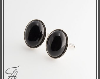 Men Jewelry, Oval cufflinks, Black Onyx Cufflinks, Cabochon Stone Cufflinks, Stone Cufflinks, Handmade Cufflinks, READY TO CHIP..........