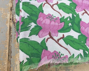VINTAGE Floral Feedsack Fabric, Purple Lotus Flower, Sewing Material, Quilting