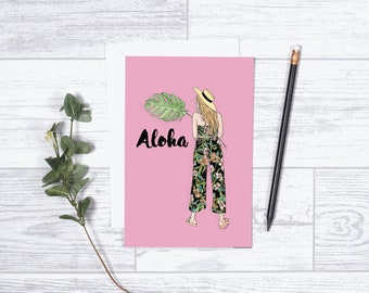 "Aloha - Note Card - 4""x6"" - Individual Card - Greeting Card - Gifts For Her - Hawaiian Card - Thinking of You - Just Because - Love - Pink"