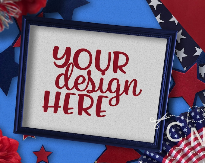 Mockup, Frame, Print, Styled, July, Patriotic, Summer, Craft Mockup, Mockup Design, Svg Mockup, Mockup for Svg, Jpeg, Mock up, Vinyl