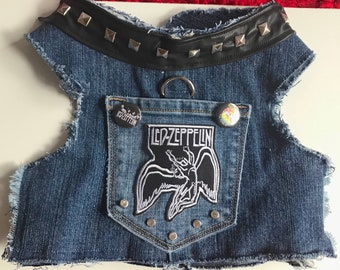 Dog Harness Vest, Led Zeppelin, Denim Vest for Dogs and Their Owners who Love Led Zeppelin