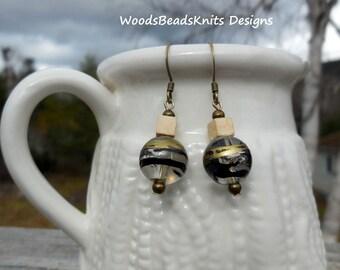 Lucite Earrings, Wood Earrings, Bohemian Earrings, Dainty Earrings, Antique Brass Nickel-Free Hooks, Gift Women, Super Lightweight Earrings