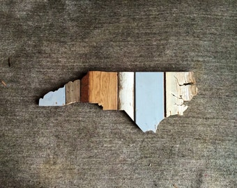 North Carolina Reclaimed Wood State Outline Wall Art - Large