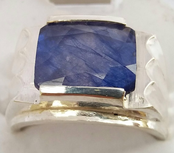 real size earth etsy sapphire mined market ring pendant ct genuine il