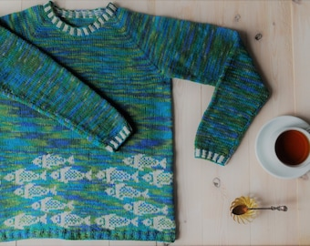SOLD Jacquard sweater hand-knit Hush