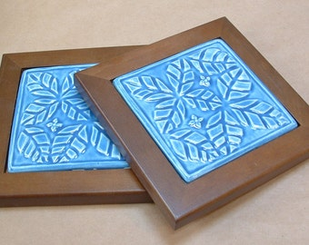 2 Tile Trivet set, leaf pattern, wood framed blue glaze, Housewarming or hostess gift
