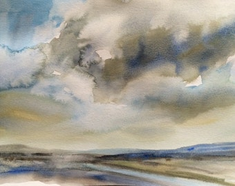 Sky painting, Cloud painting, Storm clouds, Storm cloud art, Watercolor landscape, storm cloud painting, sky art, sky watercolor