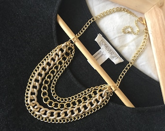 The Berthe Gold Statement Necklace, Chunky Gold Necklace, Layered Chain Necklace, Multistrand Necklace, Gold Statement Jewelry, Bib Necklace