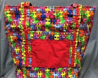 TOTE bag  AUTISM AWARENESS book bag market bag handbag purse school bag travel bag beach bag