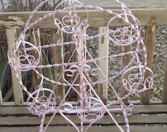 Vintage PINK Twisted Metal Ferris Wheel Center Piece /Plant Stand /Garden Yard Decor/Chic Cottage Shabby