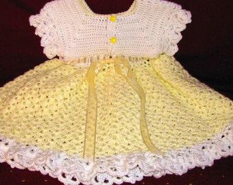 Yellow Baby Dress, Yellow & White Toddler Dress, Yellow Dress, Yellow Toddler Party Dress, Yellow Easter Dress, Girls Yellow Party Dress