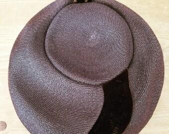 Vintage 1940s Brown Velvet Carson Pirie Scott Hat